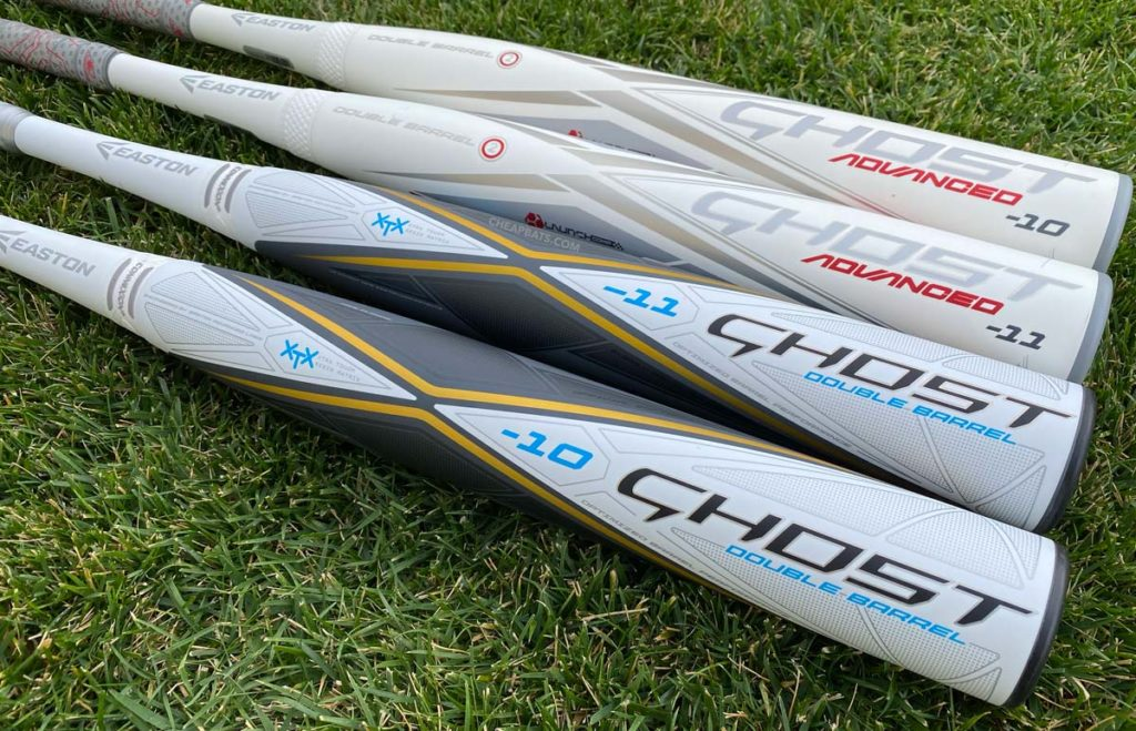 2020 Easton Ghost Advanced Fastpitch Softball Bat Compared to White Ghost Dual Stamp Bat