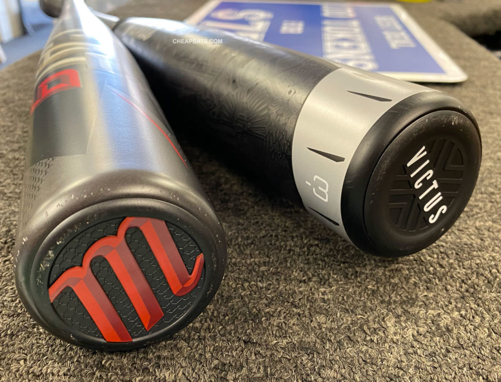 Marucci Cat 9 BBCOR and Victus Nox BBCOR end caps side by side
